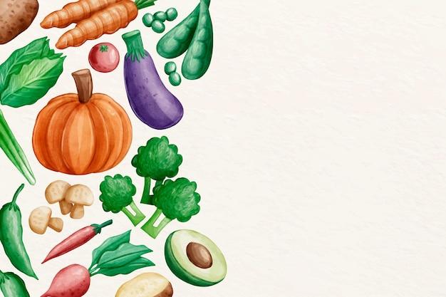 Collection de papier peint de légumes avec espace copie