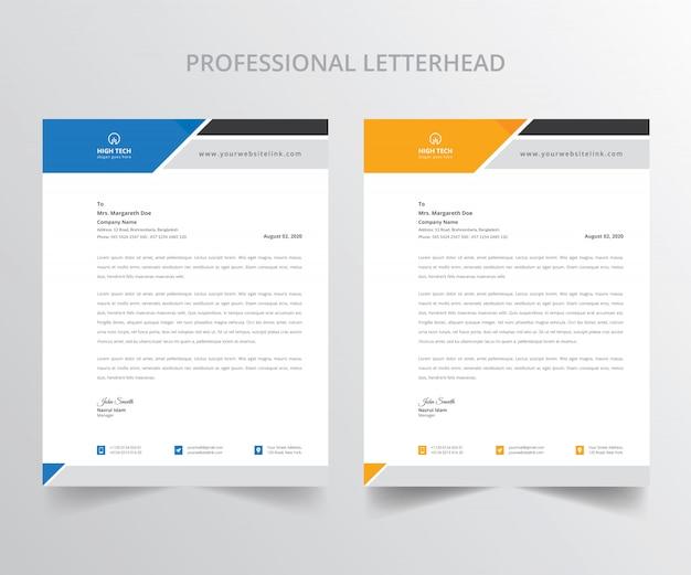 Collection de papier à en-tête professionnel