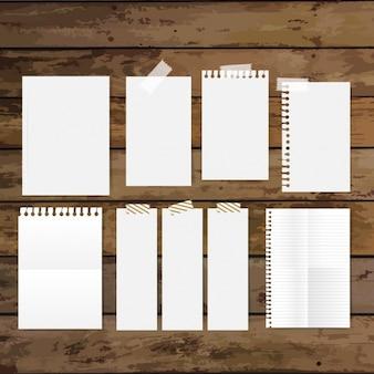 Collection de papiers vides