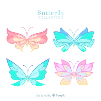 Collection papillon couleur pastel