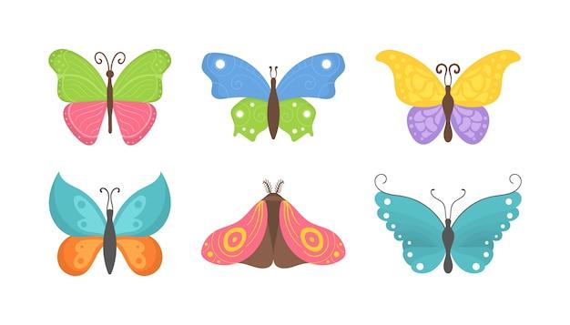 Collection de papillons au design plat. ensemble d'icônes de papillons volants isolés sur fond blanc. insectes d'été colorés une vue de dessus.