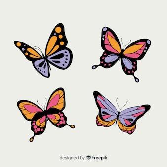 Collection de papillons plats
