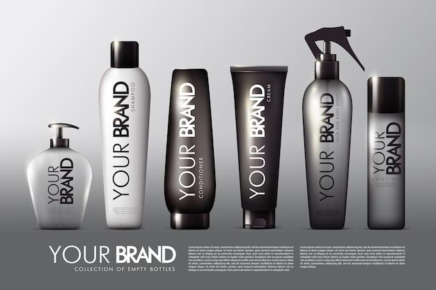 Collection de paquets cosmétiques réalistes avec spray crème revitalisant shampooing savon liquide