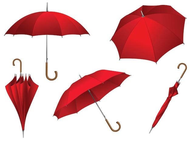 Collection de parapluies rouges. modèle pour votre publicité