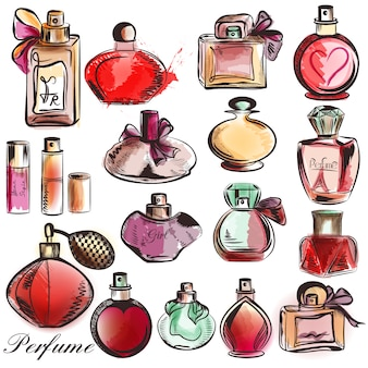 Collection de parfums dessinés à la main