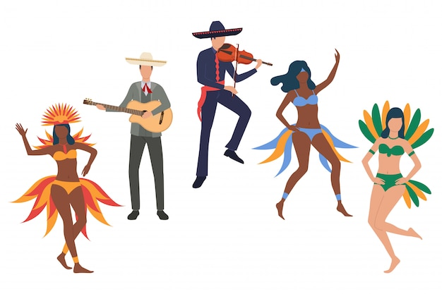 Collection de participants au carnaval du brésil