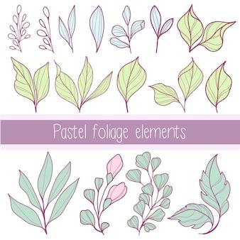 Collection pastel d'éléments de feuillage à contour plat