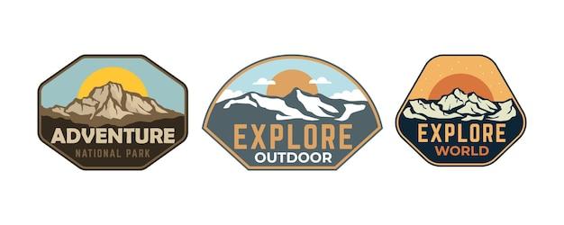 Collection de patchs d'autocollants d'insigne vintage en plein air d'aventure
