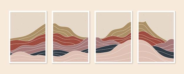 Collection de paysages d'arrière-plans esthétiques contemporains de montagne abstraite impression d'art minimaliste