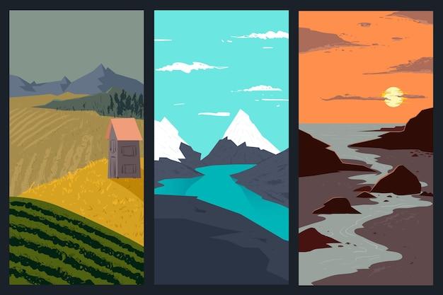 Collection De Paysages Différents Vecteur gratuit