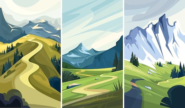 Collection de paysages naturels. belles routes de montagne.