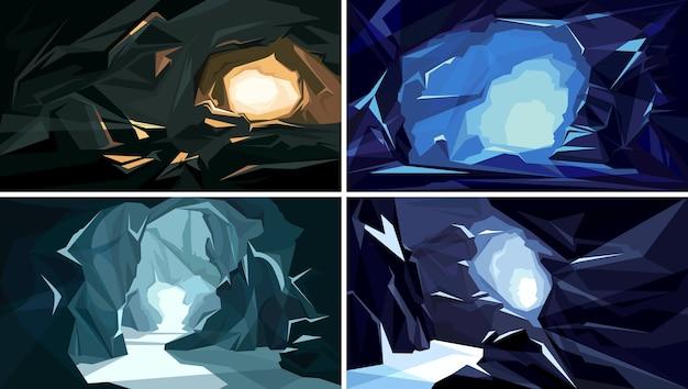 Collection de paysages souterrains. belle grotte.
