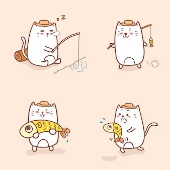 Collection de pêche de bande dessinée de chat mignon