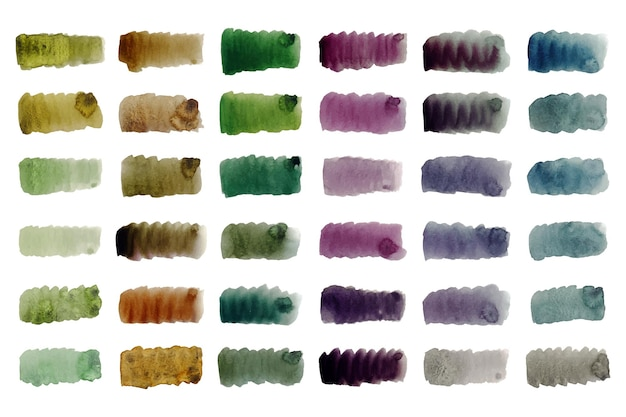Collection peinte à la main de coups de pinceau aquarelle colorés
