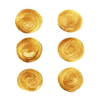 Collection de peinture de cercle d'or isolée sur fond blanc