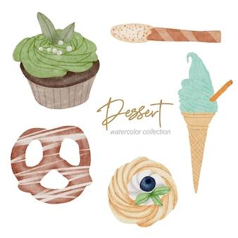 Collection de peinture à la main aquarelle dessert