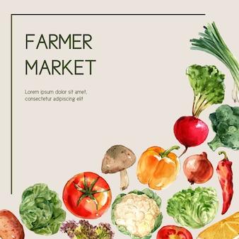 Collection de peinture végétale à l'aquarelle. illustration saine d'annonce saine de décor organique de nourriture fraîche
