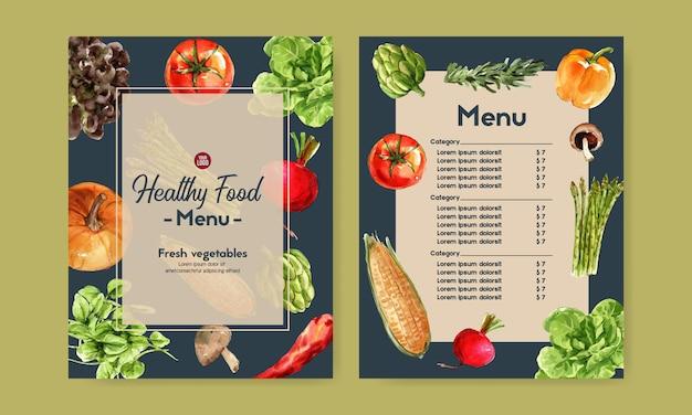 Collection de peinture végétale à l'aquarelle. illustration saine de menu bio de nourriture fraîche