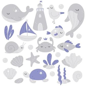 Collection de pépinière dessinée à la main avec des animaux marins
