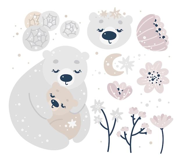 Collection de pépinière de douche de bébé avec des ours mignons, lune, étoiles, fleurs o