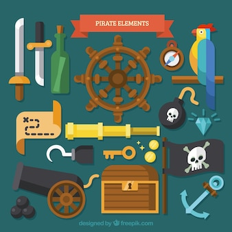 Collection de perroquets avec des éléments pirates dans un design plat
