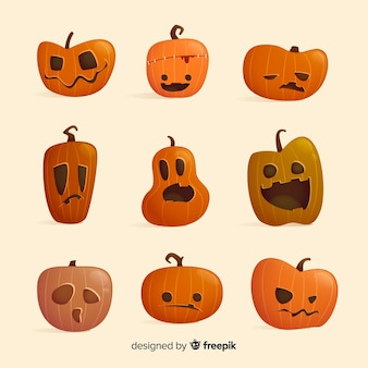 Collection de personnage de dessin animé citrouille halloween plat