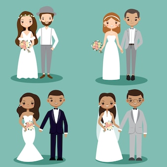 Collection de personnage de dessin animé couple de mariage