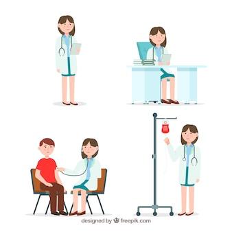 Collection de personnage de femme médecin
