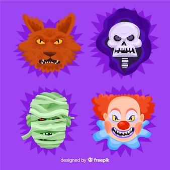 Collection de personnage d'halloween au design plat
