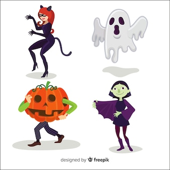 Collection de personnage d'halloween au design plat