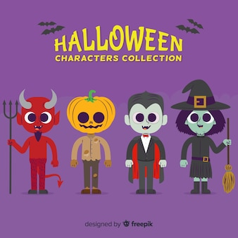 Collection de personnage d'halloween sur design plat
