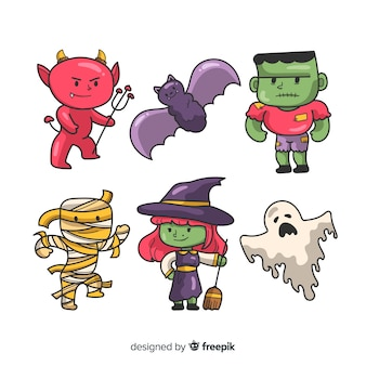 Collection de personnage d'halloween dessiné à la main