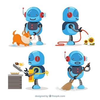 Collection de personnage robot dessinés à la main