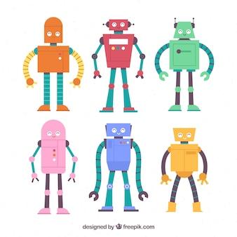 Collection de personnage robot plat