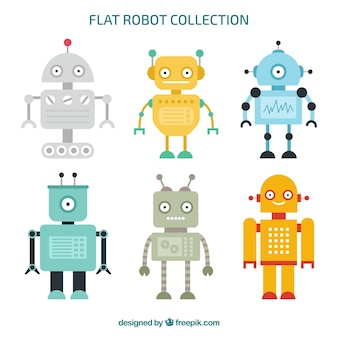Collection de personnage robot plat