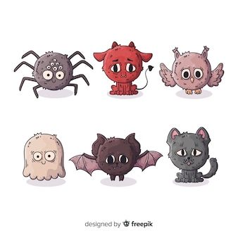 Collection de personnages animaux halloween dessinés à la main