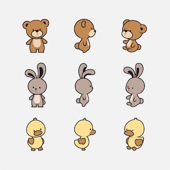 Collection de personnages d'animaux mignons