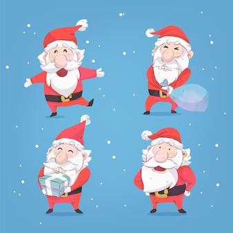 Collection de personnages aquarelle santa claus