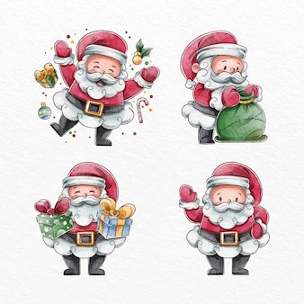 Collection de personnages aquarelle santa claus