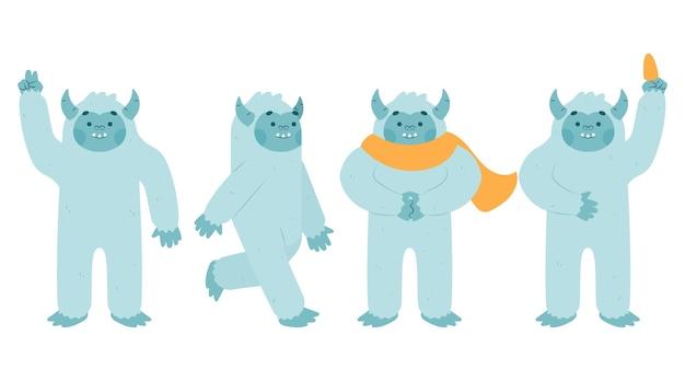 Collection de personnages de bonhomme de neige abominable yeti de dessin animé