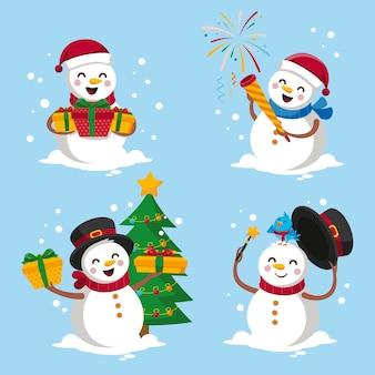Collection de personnages de bonhomme de neige au design plat