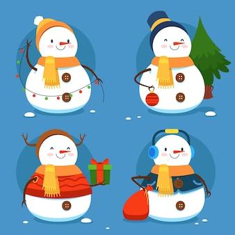 Collection de personnages de bonhomme de neige design plat