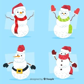 Collection de personnages de bonhomme de neige dessinés à la main