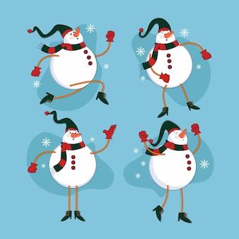 Collection de personnages de bonhomme de neige de noël dessinés