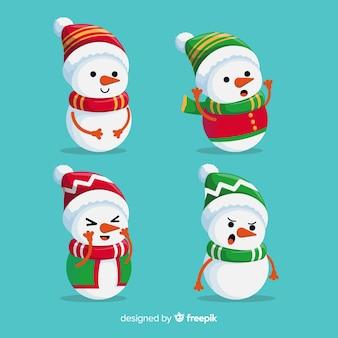 Collection de personnages de bonhomme de neige plat avec écharpe