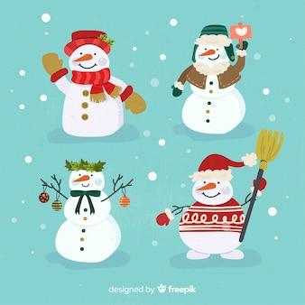 Collection de personnages de bonhomme de neige plat