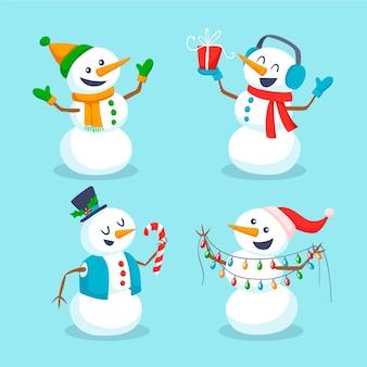 Collection de personnages de bonhomme de neige