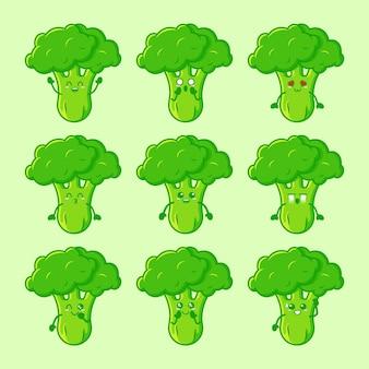 Collection de personnages de brocoli mignon vecteur premium