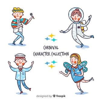 Collection de personnages de carnaval dessinés à la main