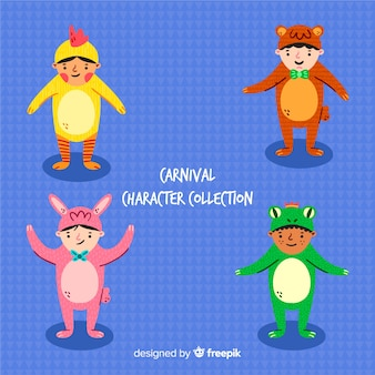 Collection de personnages de carnaval dessinés à la main